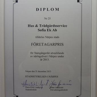 Diplom årets företagare 2013